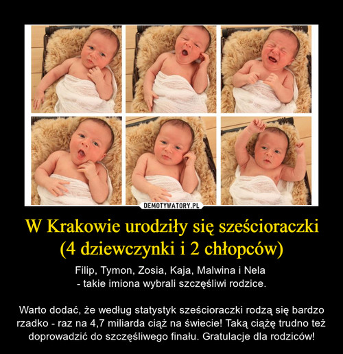 W Krakowie urodziły się sześcioraczki (4 dziewczynki i 2 chłopców)