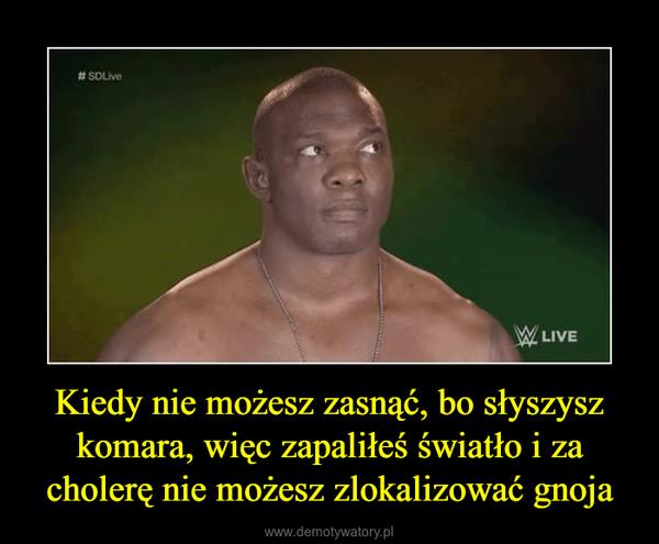 Kiedy nie możesz zasnąć, bo słyszysz komara, więc zapaliłeś światło i za cholerę nie możesz zlokalizować gnoja –