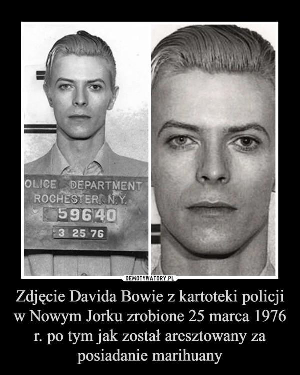 Zdjęcie Davida Bowie z kartoteki policji w Nowym Jorku zrobione 25 marca 1976 r. po tym jak został aresztowany za posiadanie marihuany –