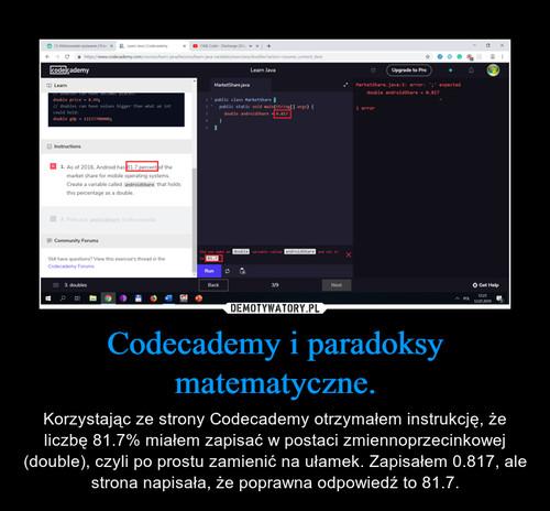 Codecademy i paradoksy matematyczne.