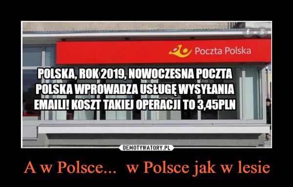A w Polsce...  w Polsce jak w lesie –  2Poczta PolskaPOLSKA, ROK 2019, NOWOCZESNA POCZTAPOLSKA WPROWADZA USLUGE WYSYLANIAEMAILI! KOSZT TAKIEJ OPERACJI TO345PLN