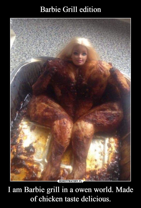 I am Barbie grill in a owen world. Made of chicken taste delicious. –