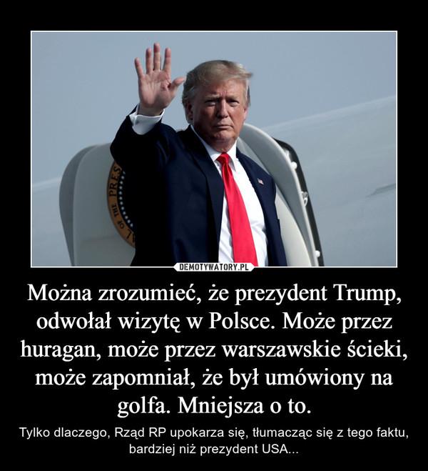 Można zrozumieć, że prezydent Trump, odwołał wizytę w Polsce. Może przez huragan, może przez warszawskie ścieki, może zapomniał, że był umówiony na golfa. Mniejsza o to. – Tylko dlaczego, Rząd RP upokarza się, tłumacząc się z tego faktu, bardziej niż prezydent USA...