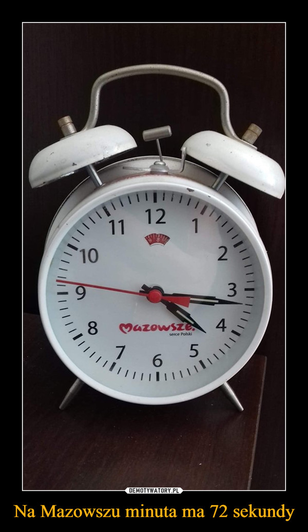 Na Mazowszu minuta ma 72 sekundy –