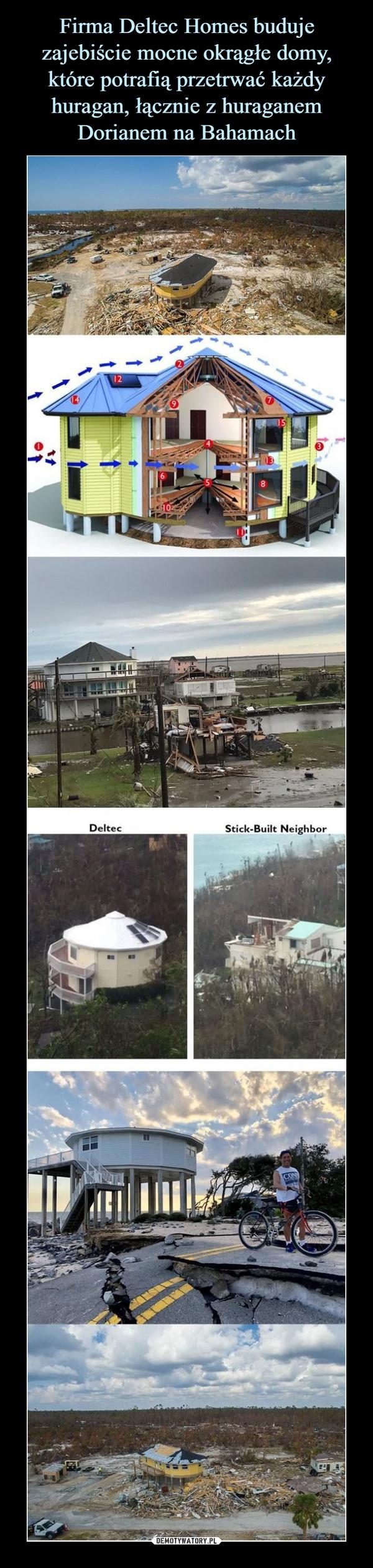 Firma Deltec Homes buduje zajebiście mocne okrągłe domy, które potrafią przetrwać każdy huragan, łącznie z huraganem Dorianem na Bahamach