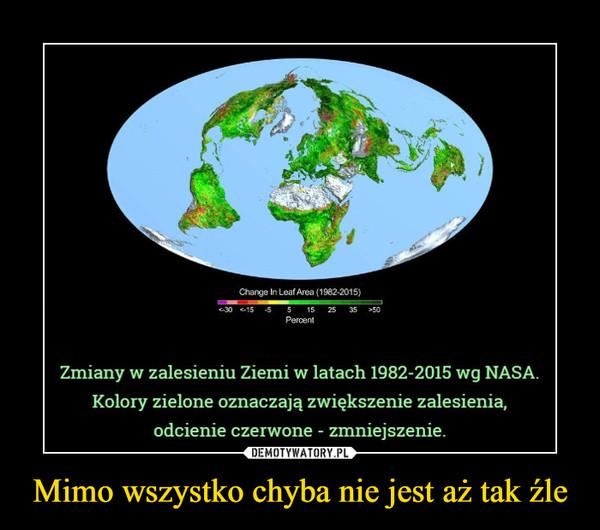 Mimo wszystko chyba nie jest aż tak źle –  Zmiany w zalesieniu Ziemi w latach 1982-2015 wg NASA.Kolory zielone oznaczają zwiększenie zalesienia,odcienie czerwone - zmniejszenie.