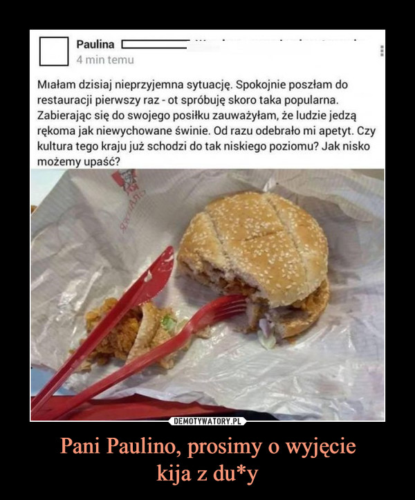Pani Paulino, prosimy o wyjęciekija z du*y –