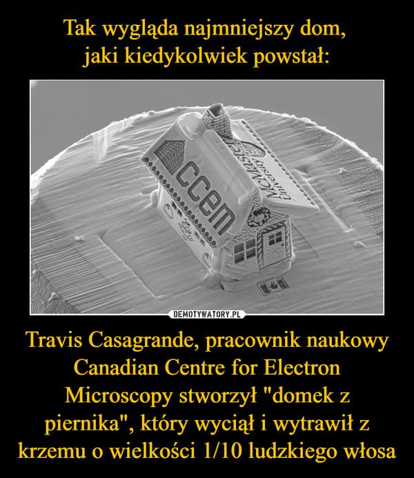 """Travis Casagrande, pracownik naukowy Canadian Centre for Electron Microscopy stworzył """"domek z piernika"""", który wyciął i wytrawił z krzemu o wielkości 1/10 ludzkiego włosa –"""
