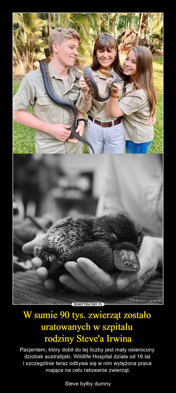 W sumie 90 tys. zwierząt zostało  uratowanych w szpitalu  rodziny Steve'a Irwina