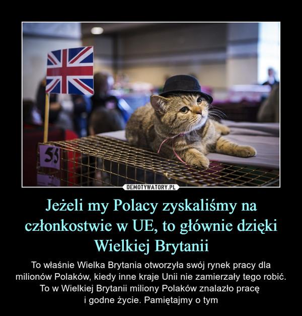 Jeżeli my Polacy zyskaliśmy na członkostwie w UE, to głównie dzięki Wielkiej Brytanii – To właśnie Wielka Brytania otworzyła swój rynek pracy dla milionów Polaków, kiedy inne kraje Unii nie zamierzały tego robić. To w Wielkiej Brytanii miliony Polaków znalazło pracę i godne życie. Pamiętajmy o tym
