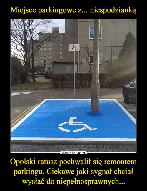 Miejsce parkingowe z... niespodzianką Opolski ratusz pochwalił się remontem parkingu. Ciekawe jaki sygnał chciał wysłać do niepełnosprawnych...