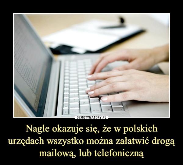 Nagle okazuje się, że w polskich urzędach wszystko można załatwić drogą mailową, lub telefoniczną –