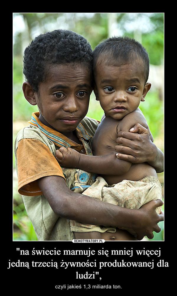 """""""na świecie marnuje się mniej więcej jedną trzecią żywności produkowanej dla ludzi"""", – czyli jakieś 1,3 miliarda ton."""