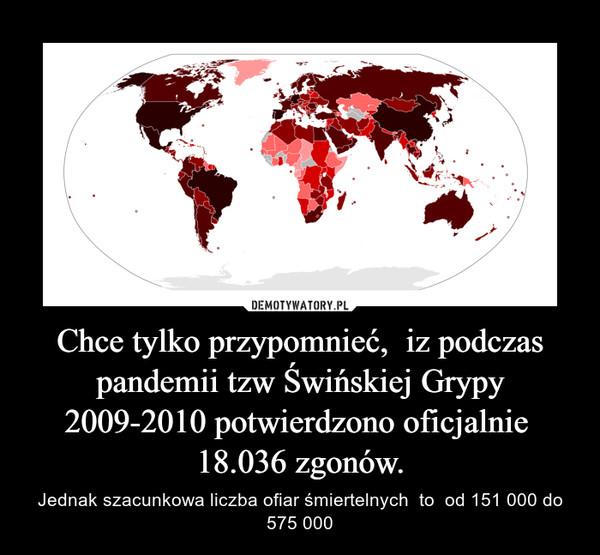 Chce tylko przypomnieć,  iz podczas pandemii tzw Świńskiej Grypy 2009-2010 potwierdzono oficjalnie  18.036 zgonów. – Jednak szacunkowa liczba ofiar śmiertelnych  to  od 151 000 do 575 000