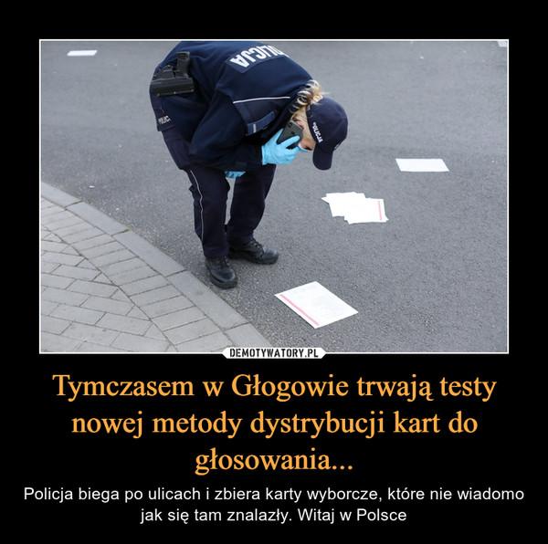 Tymczasem w Głogowie trwają testy nowej metody dystrybucji kart do głosowania... – Policja biega po ulicach i zbiera karty wyborcze, które nie wiadomo jak się tam znalazły. Witaj w Polsce