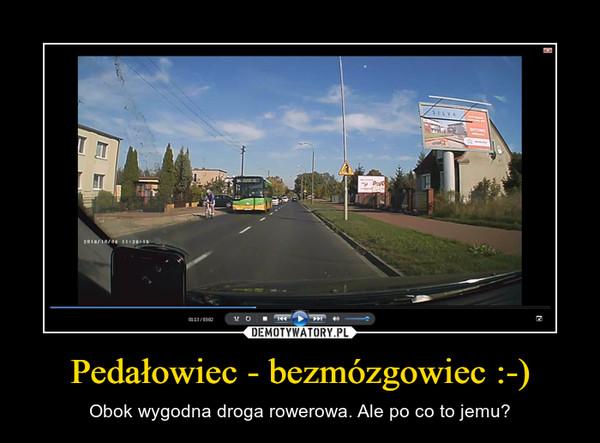 Pedałowiec - bezmózgowiec :-) – Obok wygodna droga rowerowa. Ale po co to jemu?