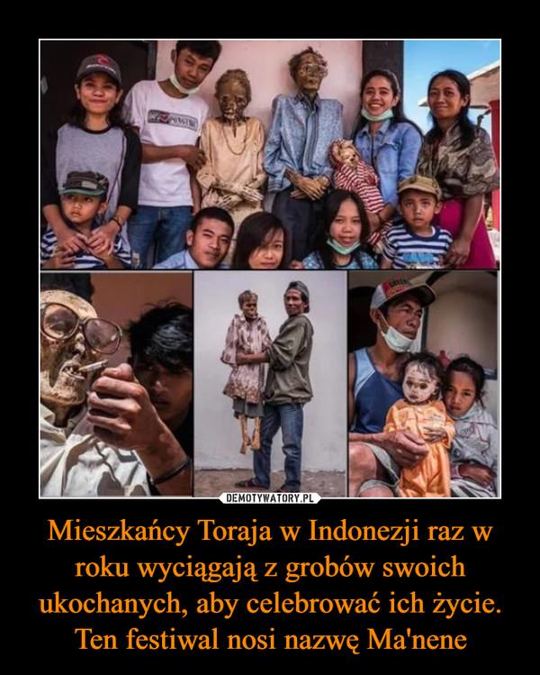 Mieszkańcy Toraja w Indonezji raz w roku wyciągają z grobów swoich ukochanych, aby celebrować ich życie. Ten festiwal nosi nazwę Ma'nene –