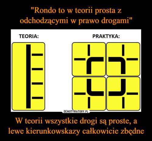 """""""Rondo to w teorii prosta z odchodzącymi w prawo drogami"""" W teorii wszystkie drogi są proste, a lewe kierunkowskazy całkowicie zbędne"""