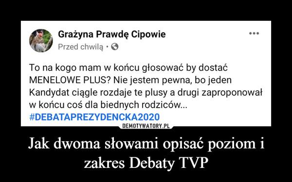 Jak dwoma słowami opisać poziom i zakres Debaty TVP –