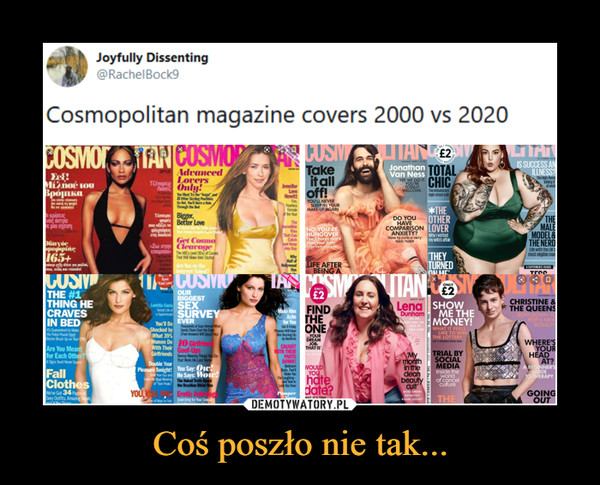 Coś poszło nie tak... –  Cosmopolitan magazine covers 2000 vs 2020