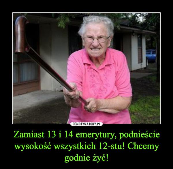 Zamiast 13 i 14 emerytury, podnieście wysokość wszystkich 12-stu! Chcemy godnie żyć! –