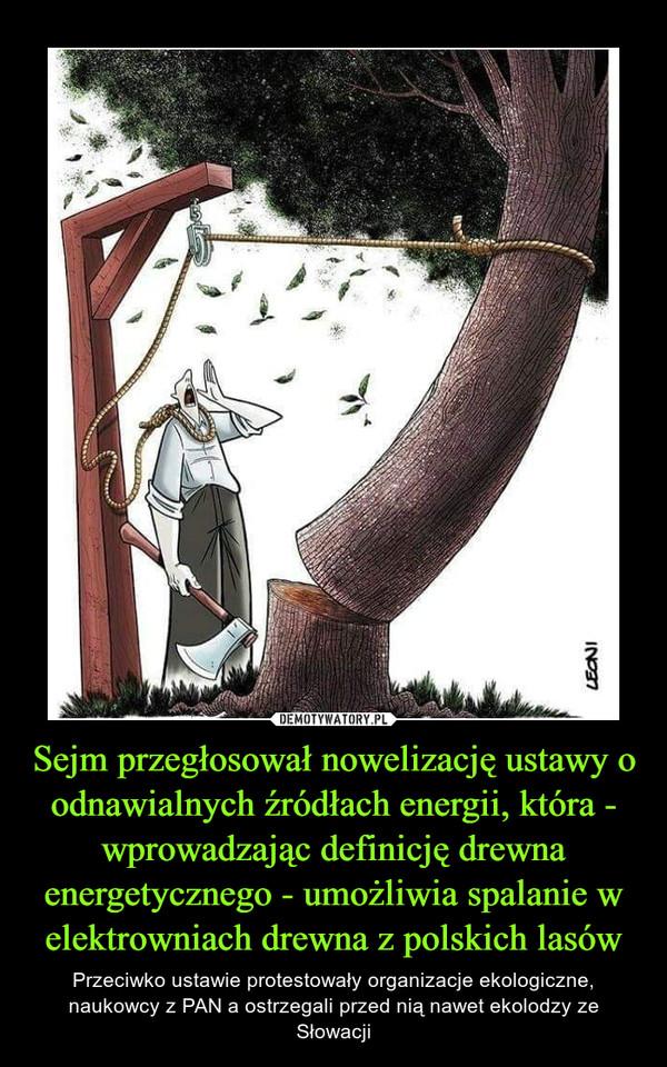 Sejm przegłosował nowelizację ustawy o odnawialnych źródłach energii, która - wprowadzając definicję drewna energetycznego - umożliwia spalanie w elektrowniach drewna z polskich lasów – Przeciwko ustawie protestowały organizacje ekologiczne, naukowcy z PAN a ostrzegali przed nią nawet ekolodzy ze Słowacji