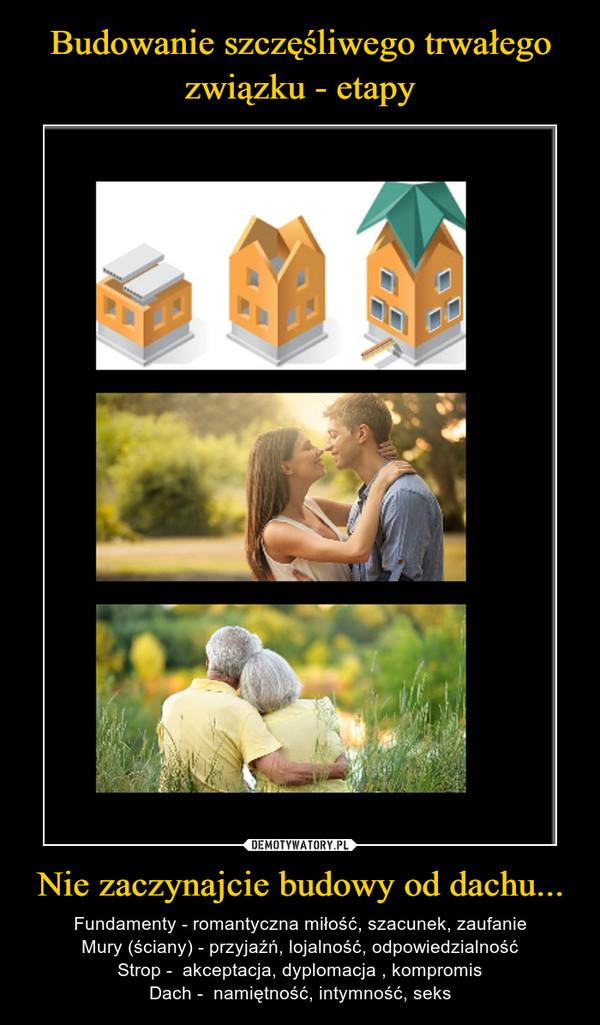 Nie zaczynajcie budowy od dachu... – Fundamenty - romantyczna miłość, szacunek, zaufanieMury (ściany) - przyjaźń, lojalność, odpowiedzialnośćStrop -  akceptacja, dyplomacja , kompromisDach -  namiętność, intymność, seks