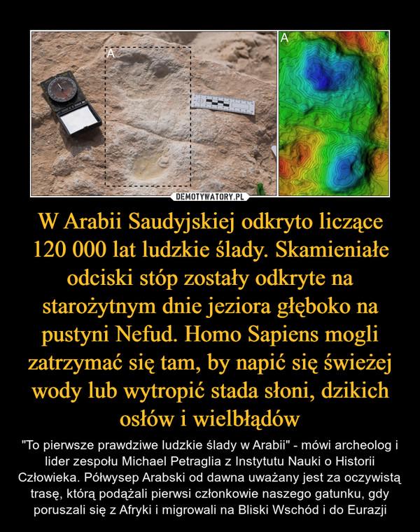 """W Arabii Saudyjskiej odkryto liczące 120 000 lat ludzkie ślady. Skamieniałe odciski stóp zostały odkryte na starożytnym dnie jeziora głęboko na pustyni Nefud. Homo Sapiens mogli zatrzymać się tam, by napić się świeżej wody lub wytropić stada słoni, dzikich osłów i wielbłądów – """"To pierwsze prawdziwe ludzkie ślady w Arabii"""" - mówi archeolog i lider zespołu Michael Petraglia z Instytutu Nauki o Historii Człowieka. Półwysep Arabski od dawna uważany jest za oczywistą trasę, którą podążali pierwsi członkowie naszego gatunku, gdy poruszali się z Afryki i migrowali na Bliski Wschód i do Eurazji"""