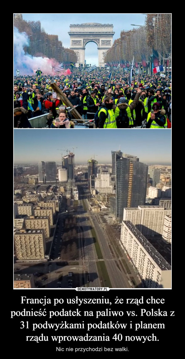 Francja po usłyszeniu, że rząd chce podnieść podatek na paliwo vs. Polska z 31 podwyżkami podatków i planem rządu wprowadzania 40 nowych. – Nic nie przychodzi bez walki.