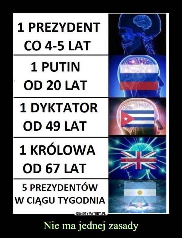 Nie ma jednej zasady –  1 prezydent co 4-5lat Putin od 20 lat 1 dyktator od 49 lat 1 królowa od 67 lat 5 prezydentów w ciągu tygodnia