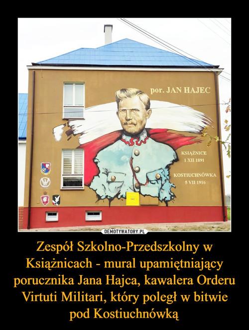 Zespół Szkolno-Przedszkolny w Książnicach - mural upamiętniający porucznika Jana Hajca, kawalera Orderu Virtuti Militari, który poległ w bitwie pod Kostiuchnówką