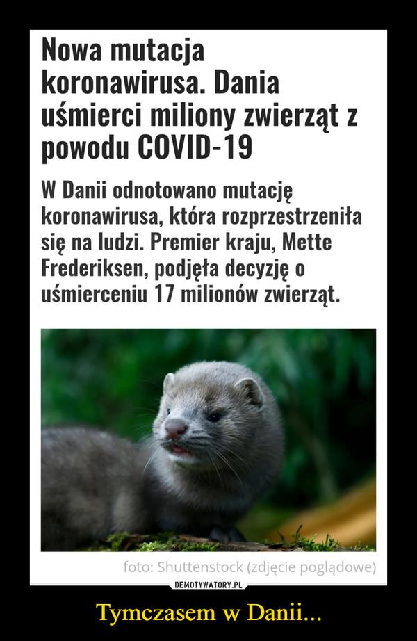 Tymczasem w Danii... –  Nowa mutacja koronawirusa. Dania uśmierci miliony zwierząt z powodu COVID-19W Danii odnotowano mutację koronawirusa, która rozprzestrzeniła się na ludzi. Premier kraju, Mette Frederiksen, podjęła decyzję o uśmierceniu 17 milionów zwierząt.