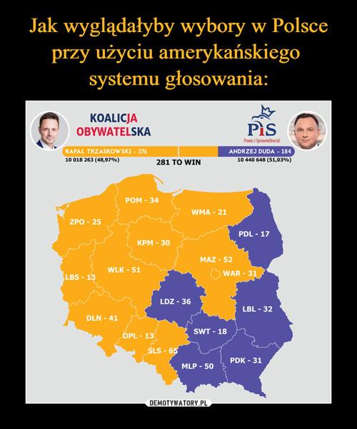 Jak wyglądałyby wybory w Polsce przy użyciu amerykańskiego  systemu głosowania: