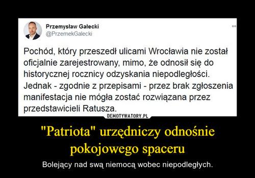 """""""Patriota"""" urzędniczy odnośnie pokojowego spaceru"""