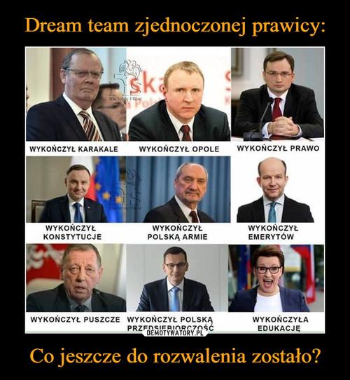 Dream team zjednoczonej prawicy: Co jeszcze do rozwalenia zostało?
