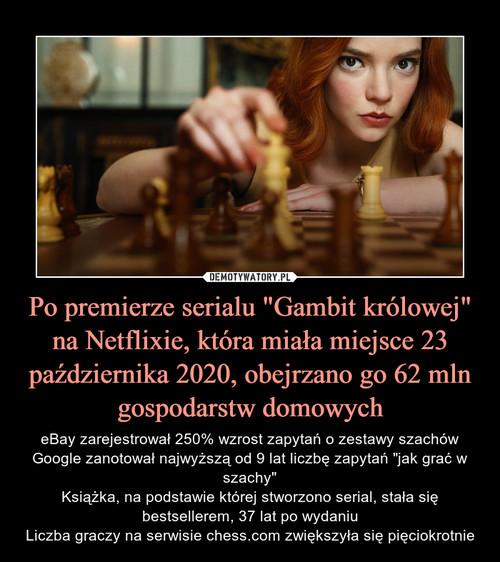 """Po premierze serialu """"Gambit królowej"""" na Netflixie, która miała miejsce 23 października 2020, obejrzano go 62 mln gospodarstw domowych"""