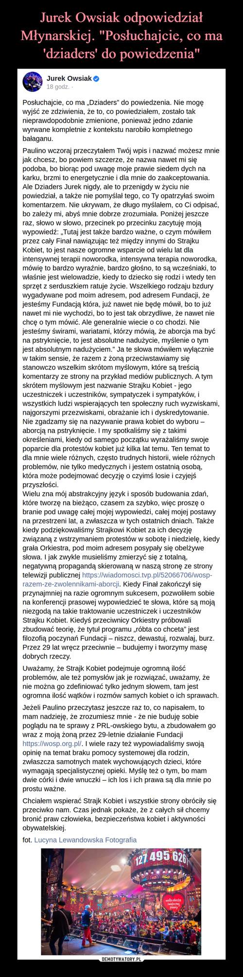 """Jurek Owsiak odpowiedział Młynarskiej. """"Posłuchajcie, co ma 'dziaders' do powiedzenia"""""""