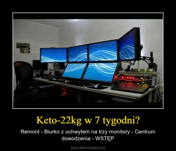 Keto-22kg w 7 tygodni? – Remont - Biurko z uchwytem na trzy monitory - Centrum dowodzenia - WSTĘP