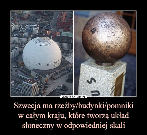 Szwecja ma rzeźby/budynki/pomniki w całym kraju, które tworzą układ słoneczny w odpowiedniej skali