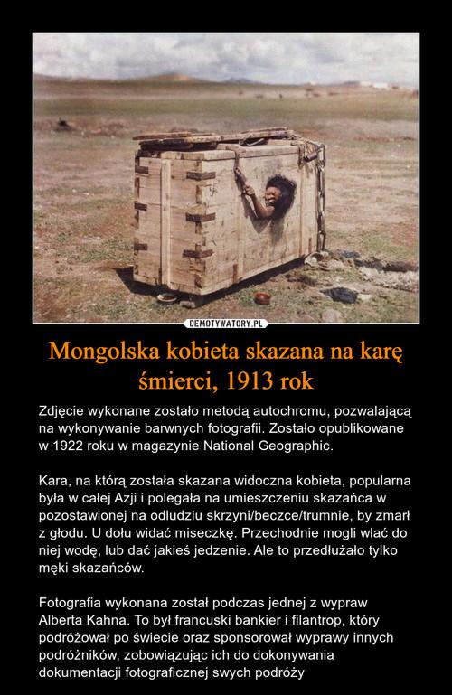 Mongolska kobieta skazana na karę śmierci, 1913 rok