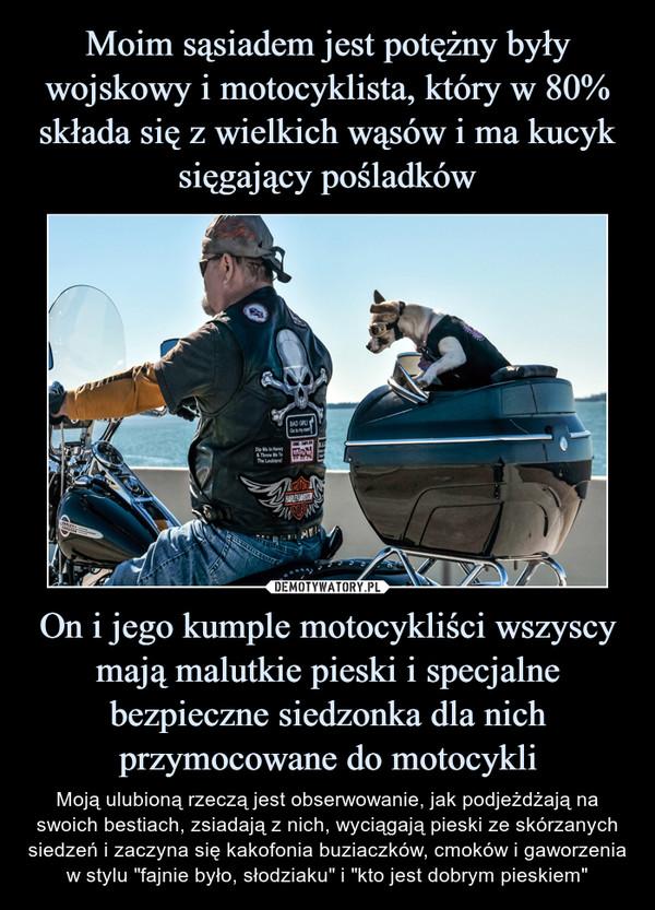 """On i jego kumple motocykliści wszyscy mają malutkie pieski i specjalne bezpieczne siedzonka dla nich przymocowane do motocykli – Moją ulubioną rzeczą jest obserwowanie, jak podjeżdżają na swoich bestiach, zsiadają z nich, wyciągają pieski ze skórzanych siedzeń i zaczyna się kakofonia buziaczków, cmoków i gaworzenia w stylu """"fajnie było, słodziaku"""" i """"kto jest dobrym pieskiem"""""""