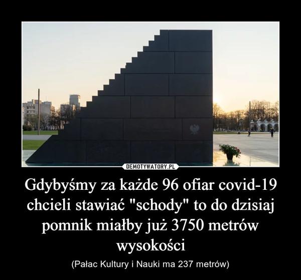 """Gdybyśmy za każde 96 ofiar covid-19 chcieli stawiać """"schody"""" to do dzisiaj pomnik miałby już 3750 metrów wysokości – (Pałac Kultury i Nauki ma 237 metrów)"""
