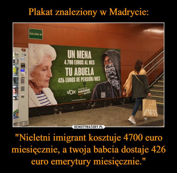 """""""Nieletni imigrant kosztuje 4700 euro miesięcznie, a twoja babcia dostaje 426 euro emerytury miesięcznie."""" –"""