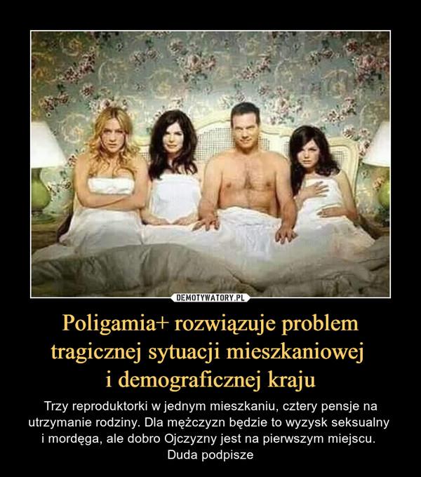 Poligamia+ rozwiązuje problem tragicznej sytuacji mieszkaniowej i demograficznej kraju – Trzy reproduktorki w jednym mieszkaniu, cztery pensje na utrzymanie rodziny. Dla mężczyzn będzie to wyzysk seksualny i mordęga, ale dobro Ojczyzny jest na pierwszym miejscu. Duda podpisze