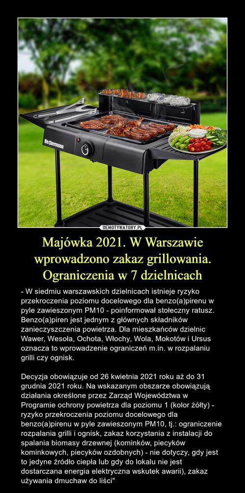 Majówka 2021. W Warszawie wprowadzono zakaz grillowania. Ograniczenia w 7 dzielnicach