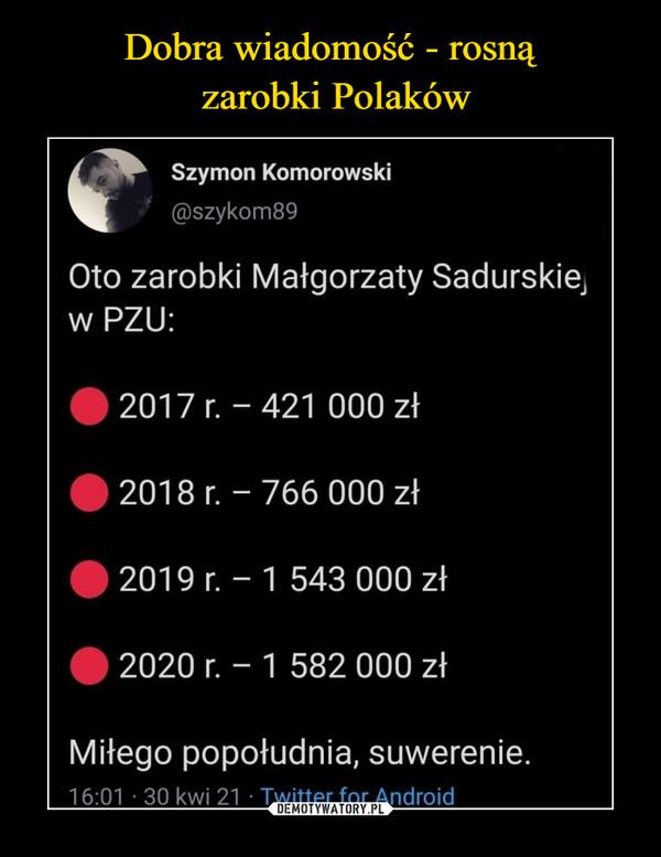 –  Oto zarobki Małgorzaty Sadurskiej w PZU: 2017 - 421 000 zł 2018 - 766 000 zł  2019 1 543 000 2020 1 582 000 Miłego popołudnia suwerenie