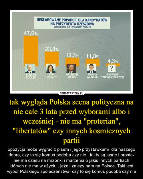 """tak wygląda Polska scena polityczna na nie całe 3 lata przed wyborami albo i wcześniej - nie ma """"proterian"""", """"libertatów"""" czy innych kosmicznych partii"""