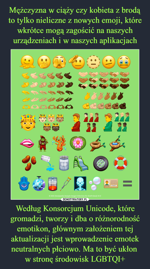 Mężczyzna w ciąży czy kobieta z brodą to tylko nieliczne z nowych emoji, które wkrótce mogą zagościć na naszych urządzeniach i w naszych aplikacjach Według Konsorcjum Unicode, które gromadzi, tworzy i dba o różnorodność emotikon, głównym założeniem tej aktualizacji jest wprowadzenie emotek neutralnych płciowo. Ma to być ukłon  w stronę środowisk LGBTQI+