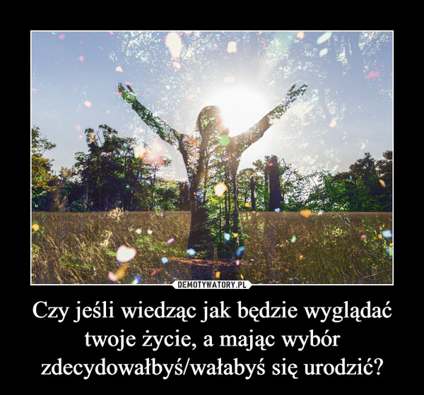 Czy jeśli wiedząc jak będzie wyglądać twoje życie, a mając wybór zdecydowałbyś/wałabyś się urodzić? –