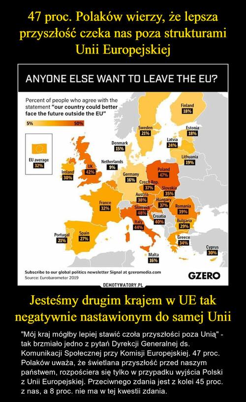 47 proc. Polaków wierzy, że lepsza przyszłość czeka nas poza strukturami Unii Europejskiej Jesteśmy drugim krajem w UE tak negatywnie nastawionym do samej Unii
